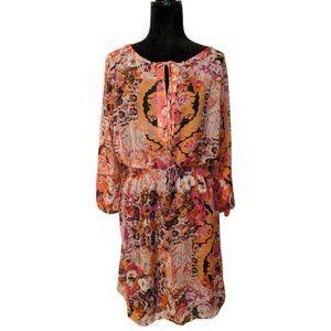 Ivanka Trump Abstract Floral Print Blouson Dress